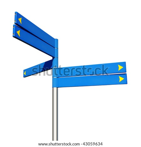 Five empty blue direction signs isolated in white background