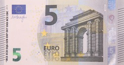 Five euro bank note finance currency close up detail money fragment