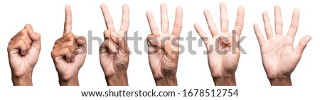 five fingers count signs isolated on white background with Clipping path included. Communication gestures concept  Foto stock ©