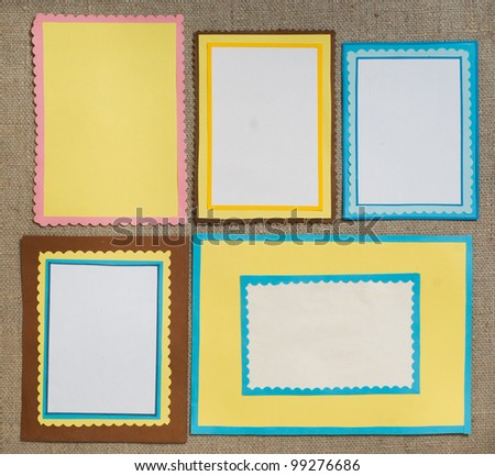 Five frames of colored paper