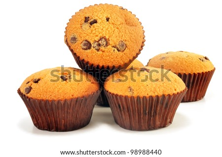 five fruitcakes with chocolate on a white background