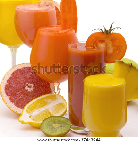 Five glasses of fresh juice from different fruit isolated on a white background