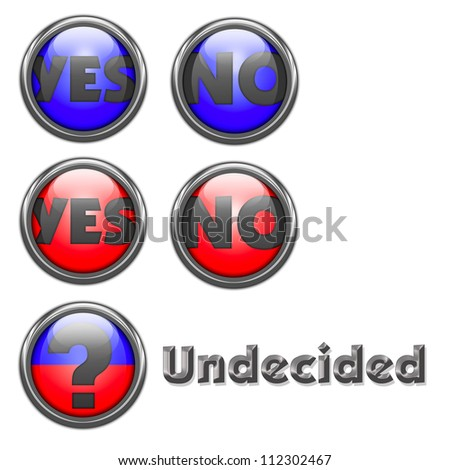 Five glassy buttons with voting options of YES, NO and a  question mark plus metallic text of  Undecided.