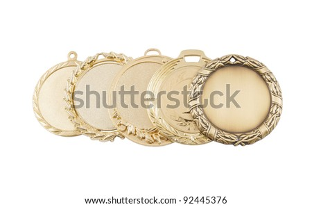 Five gold medals in a row isolated on white background