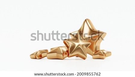 Five gold star rate review customer experience quality service excellent feedback concept isolated on best rating satisfaction white background with flat design ranking icon symbol. 3D rendering.