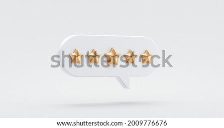 Five gold star rate review customer experience quality service excellent feedback concept on best rating satisfaction background with flat design ranking icon symbol. 3D rendering.