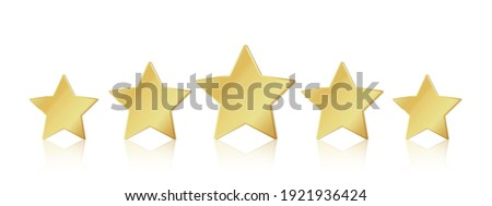 Five gold stars. 5 star rating realistic leadership symbol. Glossy yellow metallic winner champion rating.  illustration stars restaurant or hotels satisfaction quality service