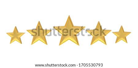 Five golden stars. Golden five star review or rating. 3D illustration.