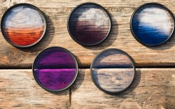 Five gradient filters for photography lens.