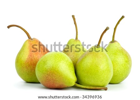 Five green pears isolated on the white background