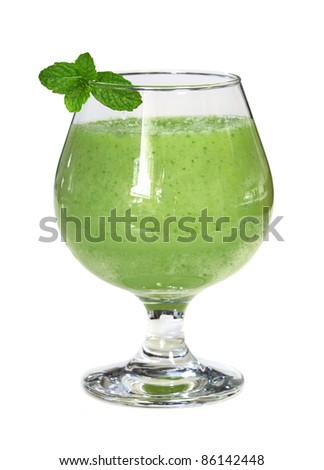 Five green vegetable and fruit (apple, bitter melon, pepper, celery, cucumber)