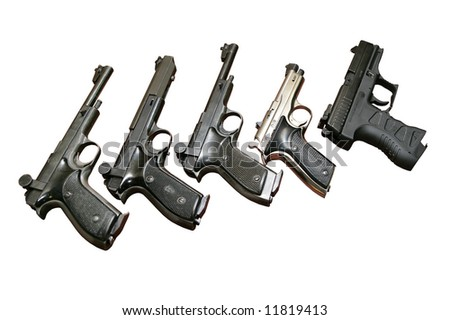Five guns isolated on white