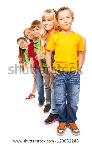 Five happy 8 years old boys and girls isolated on white and standing together one after another - stock photo