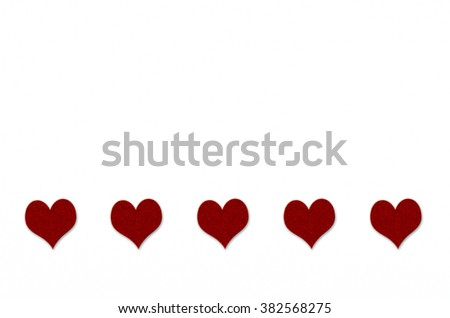 Five hearts on white background #382568275