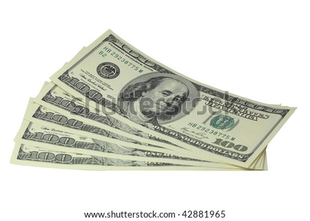 Five hundred dollar bills lying on a white background