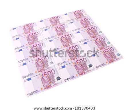 Five hundred euro banknotes. On a white background.