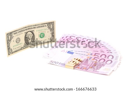 Five hundred euro fan and dollar bill. Isolated on a white background.