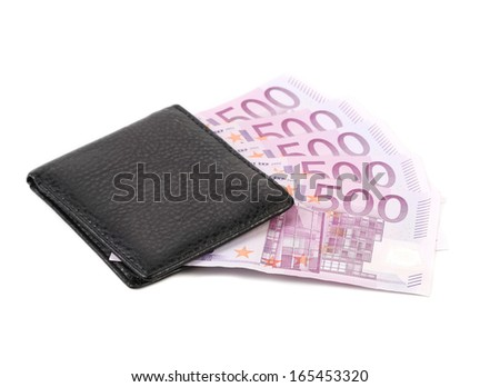 Five hundred euro in purse. Isolated on a white background.