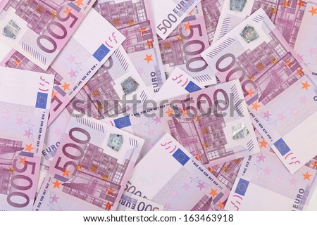 Five hundred euro notes. Close up. Whole background.