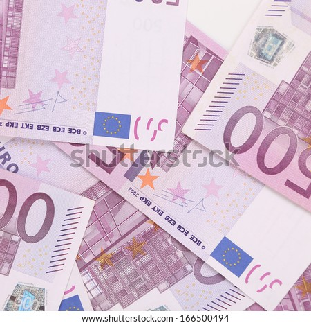 Five hundred euro notes. Whole background texture.