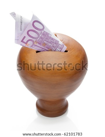 Five hundred euros saved in a moneybox