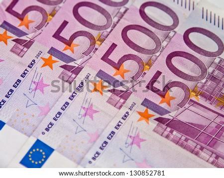 Five hundreds euro banknotes background - stock photo