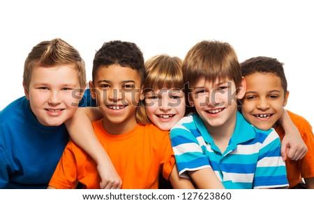 Five kids together close-up diversity portrait