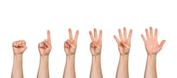 Five male hands raise up, in fist, one finger, two, three, four, and all five fingers pointing up, white background with room for copy space