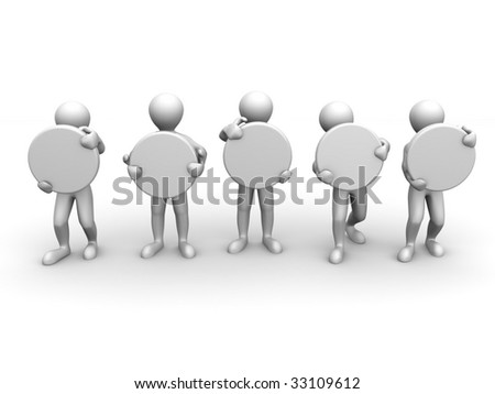 five men with space for text. 3d