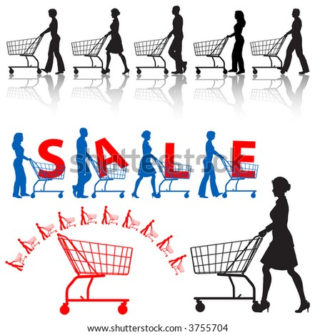 Five men & women shoppers push shopping carts. A SALE sample design, a shopping-carts element.