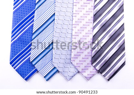 Five multi-colored tie isolated on white