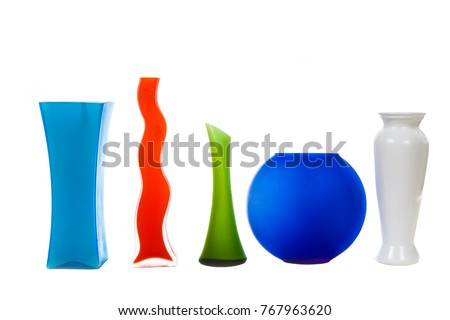Five multi-colored vases  isolated on white background. Home decor. #767963620