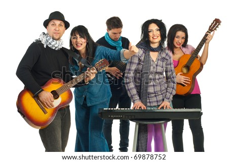 Five musicians group playing musical instruments in a concert isolated on white background