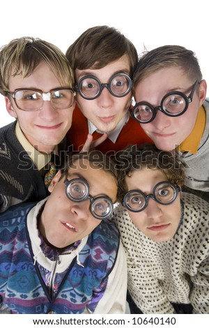 Five nerdy guys in funny glasses, smiling and looking at camera. Front view, white background