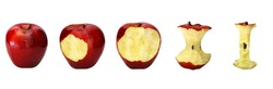 Five phases of delicious red apple being eaten