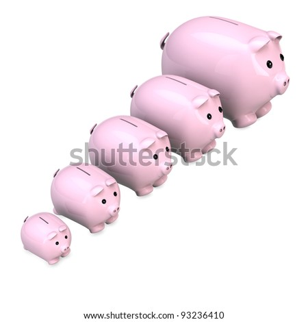 Five pink piggy banks with different sizes in a row