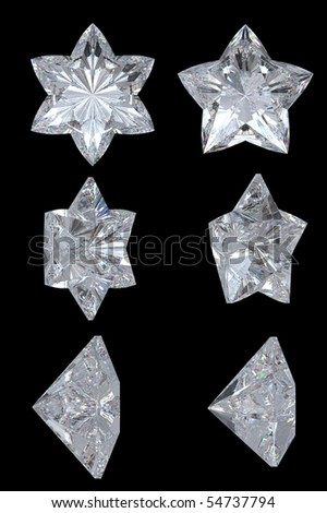 Five-pointed, six-point diamond stars. Extralarge resolution. Top, bottom and side views. Over black, Other gems are in my portfolio.