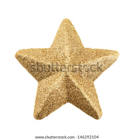 Five-pointed star covered with golden tinsel isolated over white background