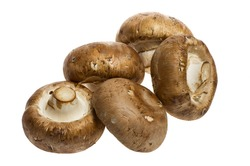Five portobello mushrooms isolated on white