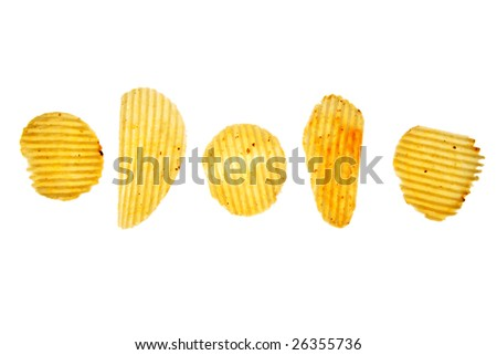 Five potato chips on white