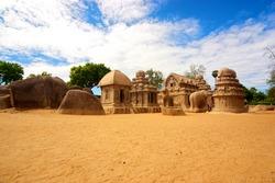 five ratha temple in mahabalipuram, tamil nadu, india