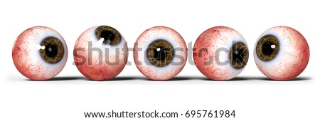 five realistic human eyes with brown iris, isolated on white background (3d illustration banner)