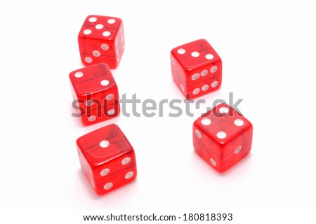 Five red dice, isolated on white background. #180818393
