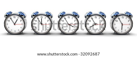 Five retro alarm clocks isolated over white, each with different time