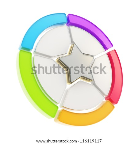 Five sector colorful star emblem copyspace diagram icon isolated on white background