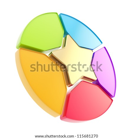 Five sector star emblem copyspace colorful diagram icon isolated on white background