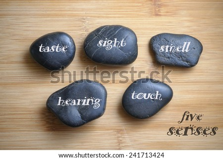 Five senses written on the rock, wooden background #241713424