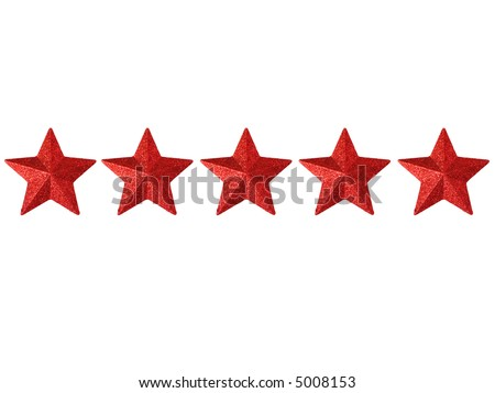 Five shining stars isolated on a white background - stock photo