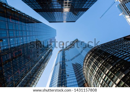 Five skyscrapers reach into the sky while under construction in the city of London #1431157808