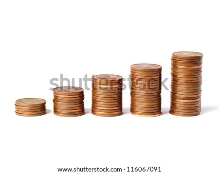 Five stacks of coins 5-cent increase in height and isolated on white background